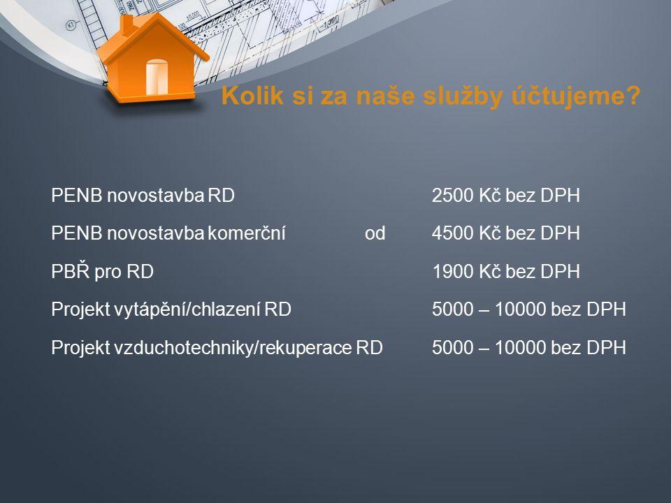 Kolik si za naše služby účtujeme? PENB novostavba RD PENB novostavba komerční PBŘ pro RD Projekt vytápění/chlazení RD Projekt vzduchotechniky/rekupera
