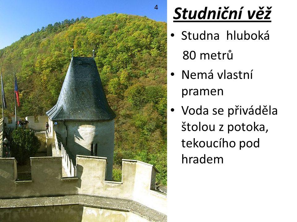 Studniční věž Studna hluboká 80 metrů Nemá vlastní pramen Voda se přiváděla štolou z potoka, tekoucího pod hradem 4