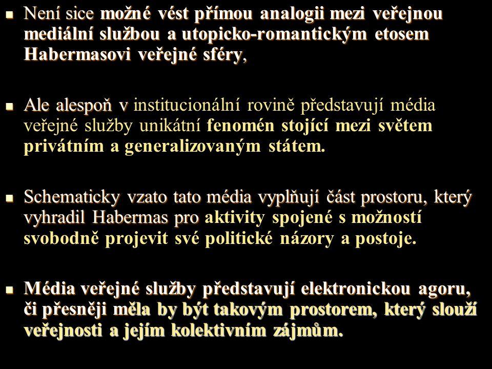 Není sice možné vést přímou analogii mezi veřejnou mediální službou a utopicko-romantickým etosem Habermasovi veřejné sféry, Není sice možné vést přímou analogii mezi veřejnou mediální službou a utopicko-romantickým etosem Habermasovi veřejné sféry, Ale alespoň v Ale alespoň v institucionální rovině představují média veřejné služby unikátní fenomén stojící mezi světem privátním a generalizovaným státem.