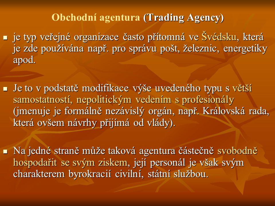 (Trading Agency) Obchodní agentura (Trading Agency) je typ veřejné organizace často přítomná ve Švédsku, která je zde používána např.