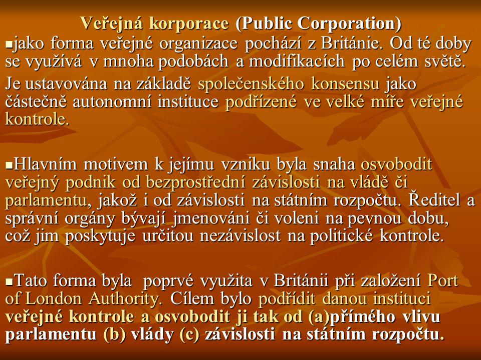 Veřejná korporace (Public Corporation) jako forma veřejné organizace pochází z Británie.