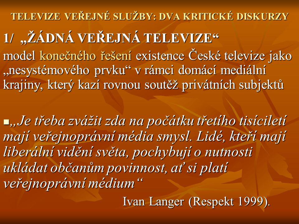 """TELEVIZE VEŘEJNÉ SLUŽBY: DVA KRITICKÉ DISKURZY 1/ """"ŽÁDNÁ VEŘEJNÁ TELEVIZE model konečného řešení existence České televize jako """"nesystémového prvku v rámci domácí mediální krajiny, který kazí rovnou soutěž privátních subjektů """"Je třeba zvážit zda na počátku třetího tisíciletí mají veřejnoprávní média smysl."""