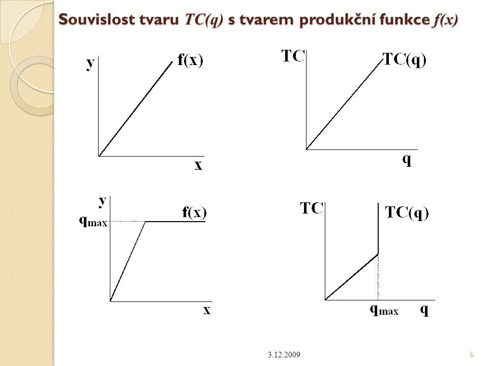 Průměrné a mezní náklady TC(q) : celkové náklady (total cost) FC : fixní náklady (fixed cost) VC(q) = TC(q) – FC : variabilní náklady (variable cost) Podílové nákladové funkce : ◦ průměrné (average) celkové náklady: AC = TC(q) / q ◦ aproximace mezních nákladů: MC=[TC(q+  )-TC(q)]/q ◦ mezní (marginal) náklady: derivace TC podle q : MC = TC´(q) ◦ průměrné fixní náklady: AFC = FC(q) / q ◦ průměrné variabilní náklady: AVC = VC(q) / q 3.12.2009 7