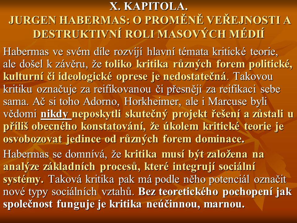 X. KAPITOLA. JURGEN HABERMAS: O PROMĚNĚ VEŘEJNOSTI A DESTRUKTIVNÍ ROLI MASOVÝCH MÉDIÍ Habermas ve svém díle rozvíjí hlavní témata kritické teorie, ale