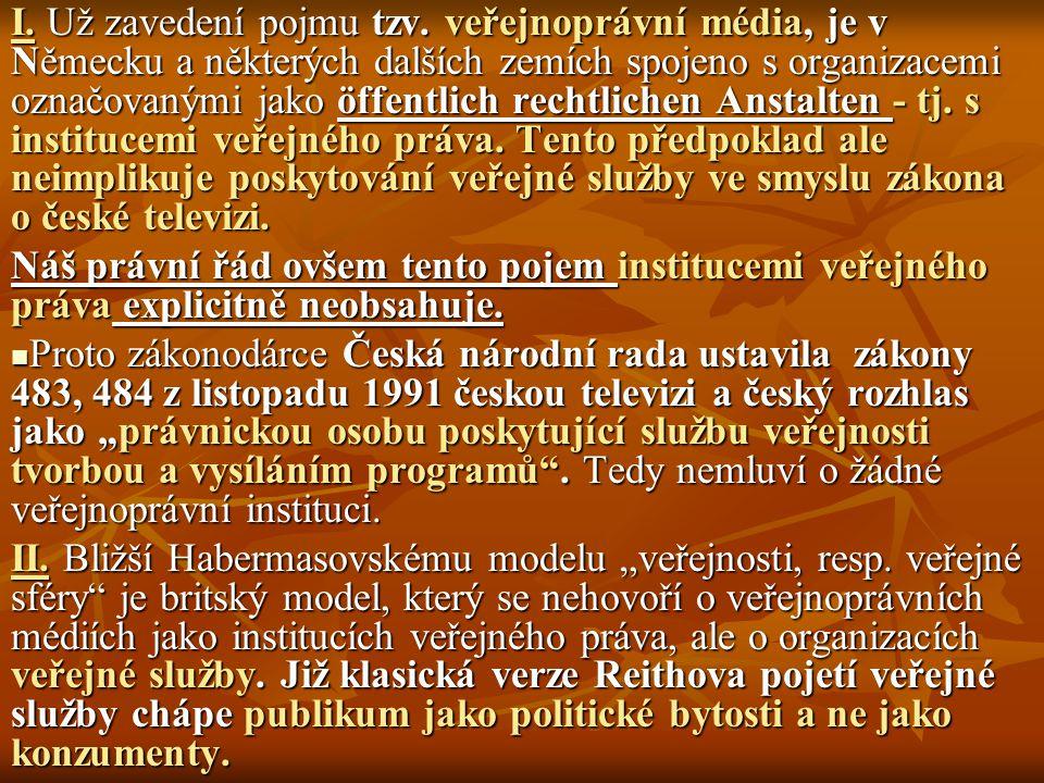 I. Už zavedení pojmu tzv. veřejnoprávní média, je v Německu a některých dalších zemích spojeno s organizacemi označovanými jako öffentlich rechtlichen