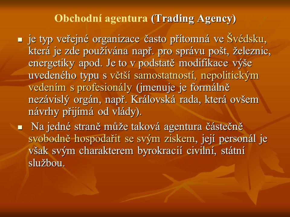 (Trading Agency) Obchodní agentura (Trading Agency) je typ veřejné organizace často přítomná ve Švédsku, která je zde používána např. pro správu pošt,