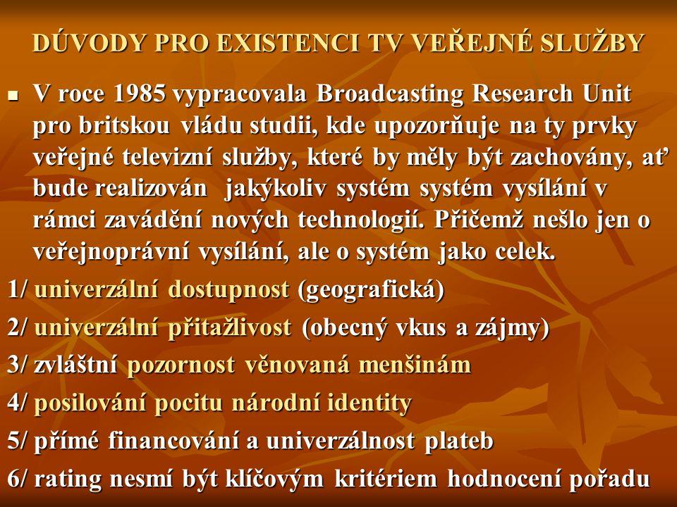 DÚVODY PRO EXISTENCI TV VEŘEJNÉ SLUŽBY V roce 1985 vypracovala Broadcasting Research Unit pro britskou vládu studii, kde upozorňuje na ty prvky veřejn