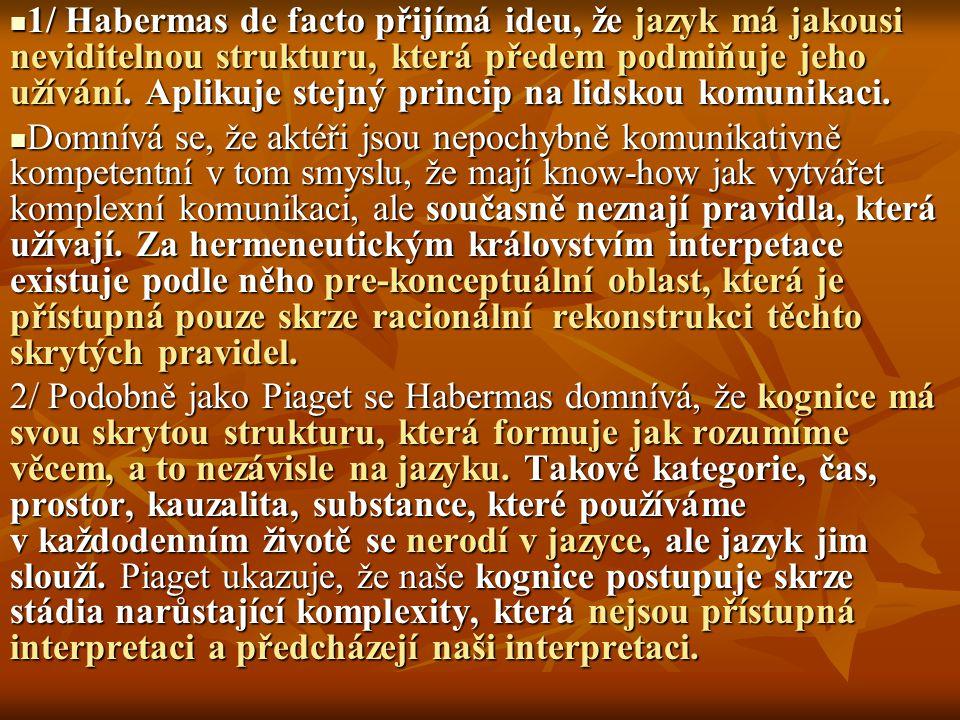 1/ Habermas de facto přijímá ideu, že jazyk má jakousi neviditelnou strukturu, která předem podmiňuje jeho užívání. Aplikuje stejný princip na lidskou