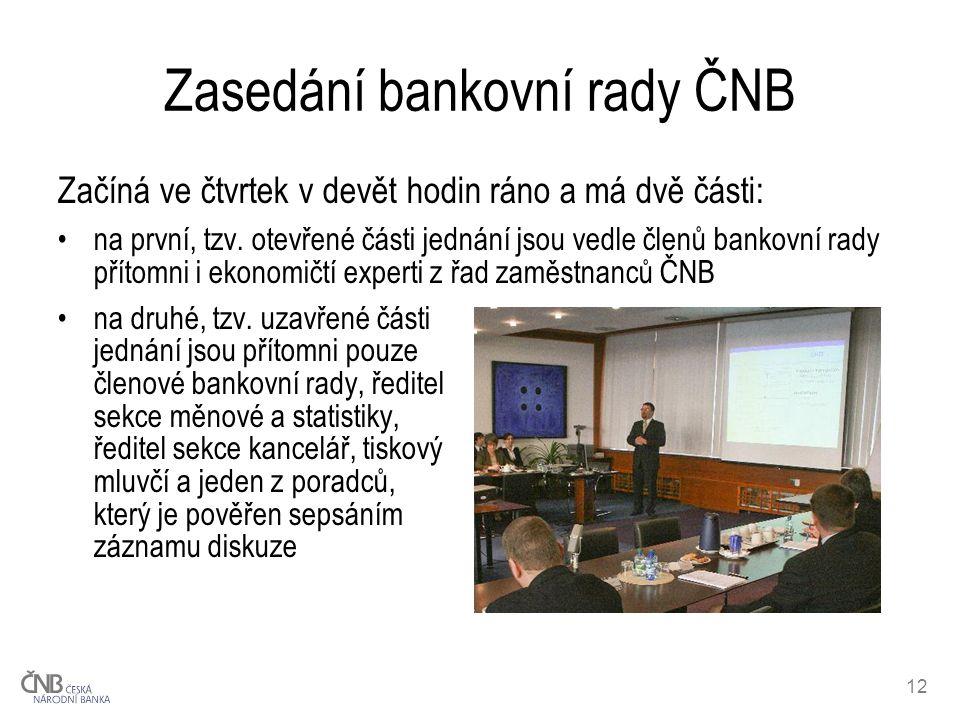 12 Zasedání bankovní rady ČNB Začíná ve čtvrtek v devět hodin ráno a má dvě části: na první, tzv.