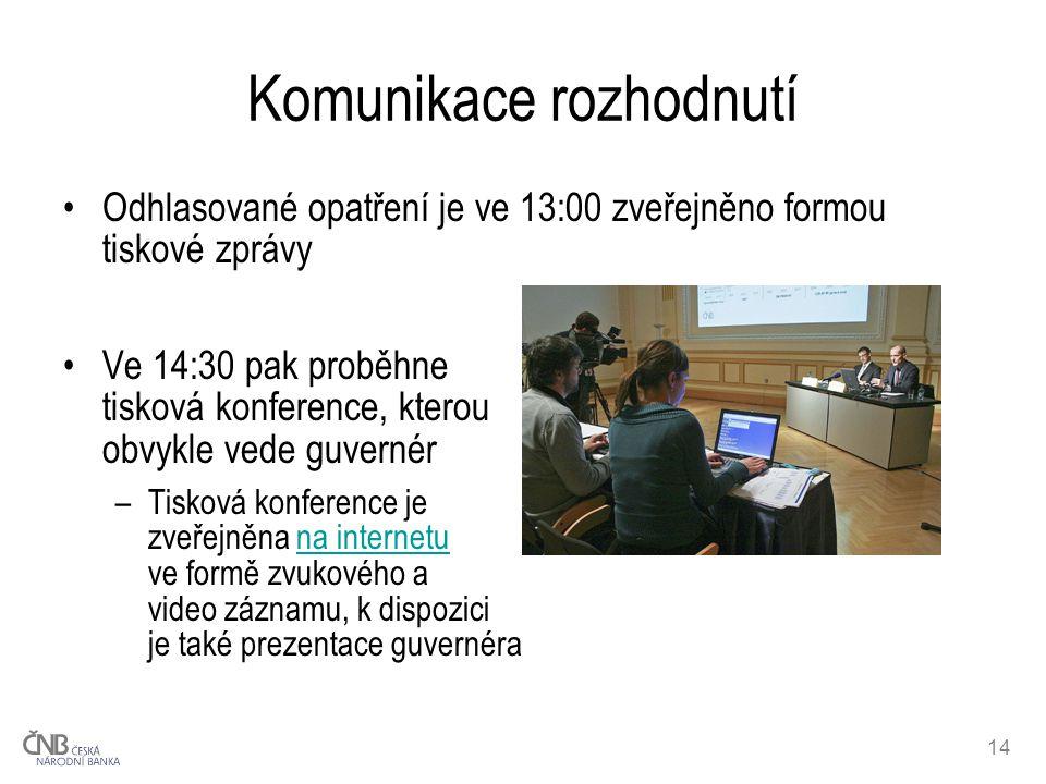 14 Komunikace rozhodnutí Odhlasované opatření je ve 13:00 zveřejněno formou tiskové zprávy Ve 14:30 pak proběhne tisková konference, kterou obvykle vede guvernér –Tisková konference je zveřejněna na internetu ve formě zvukového a video záznamu, k dispozici je také prezentace guvernérana internetu
