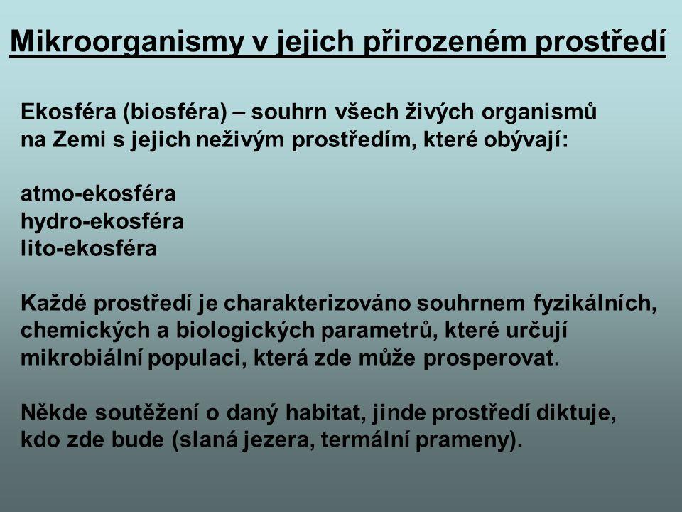 Ekosféra (biosféra) – souhrn všech živých organismů na Zemi s jejich neživým prostředím, které obývají: atmo-ekosféra hydro-ekosféra lito-ekosféra Každé prostředí je charakterizováno souhrnem fyzikálních, chemických a biologických parametrů, které určují mikrobiální populaci, která zde může prosperovat.