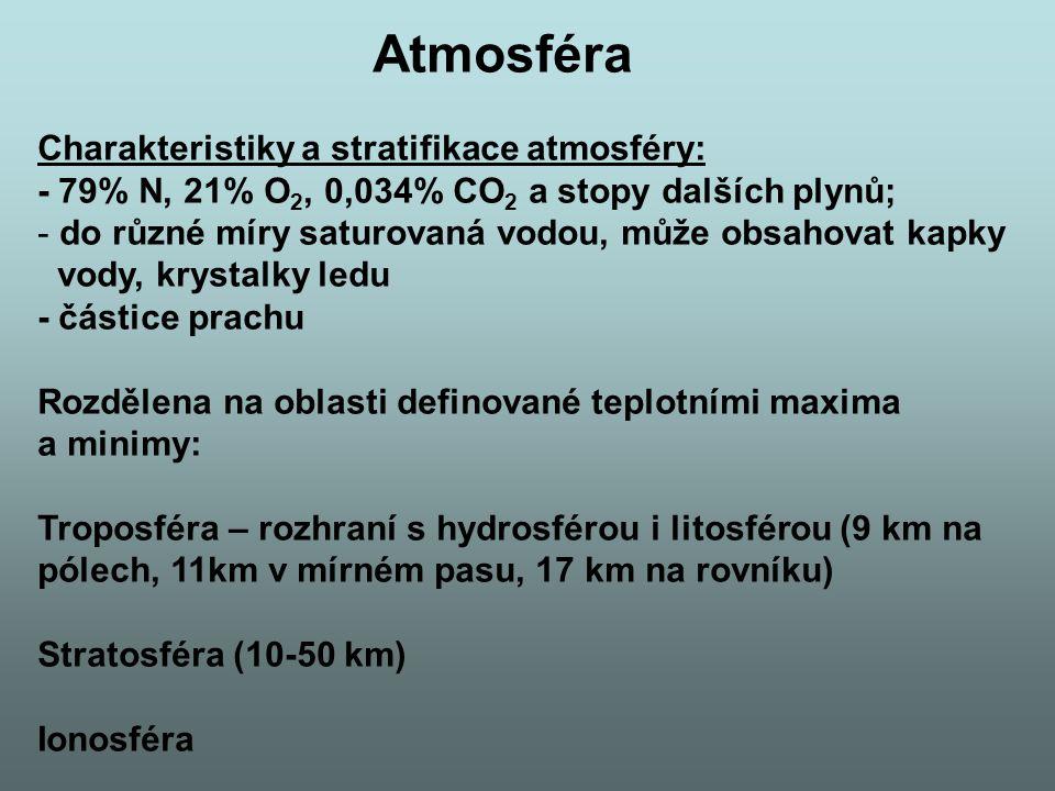 Atmosféra Charakteristiky a stratifikace atmosféry: - 79% N, 21% O 2, 0,034% CO 2 a stopy dalších plynů; - do různé míry saturovaná vodou, může obsahovat kapky vody, krystalky ledu - částice prachu Rozdělena na oblasti definované teplotními maxima a minimy: Troposféra – rozhraní s hydrosférou i litosférou (9 km na pólech, 11km v mírném pasu, 17 km na rovníku) Stratosféra (10-50 km) Ionosféra