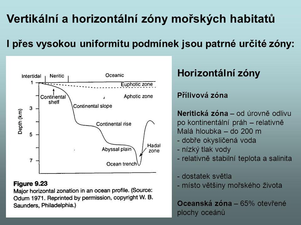 Vertikální a horizontální zóny mořských habitatů I přes vysokou uniformitu podmínek jsou patrné určité zóny: Horizontální zóny Přílivová zóna Neritická zóna – od úrovně odlivu po kontinentální práh – relativně Malá hloubka – do 200 m - dobře okysličená voda - nízký tlak vody - relativně stabilní teplota a salinita - dostatek světla - místo většiny mořského života Oceanská zóna – 65% otevřené plochy oceánů