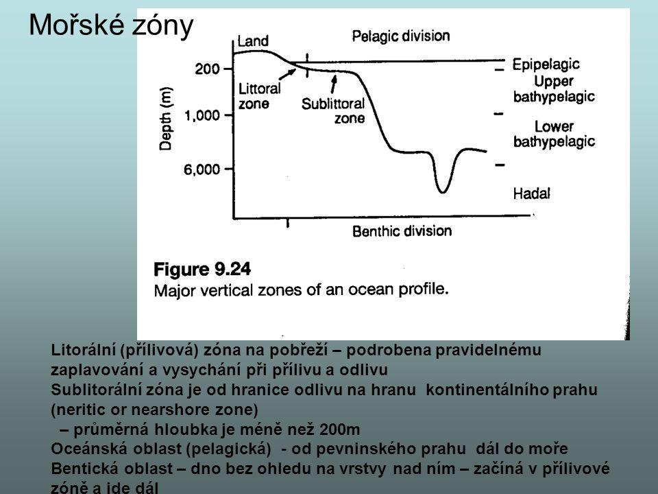 Litorální (přílivová) zóna na pobřeží – podrobena pravidelnému zaplavování a vysychání při přílivu a odlivu Sublitorální zóna je od hranice odlivu na hranu kontinentálního prahu (neritic or nearshore zone) – průměrná hloubka je méně než 200m Oceánská oblast (pelagická) - od pevninského prahu dál do moře Bentická oblast – dno bez ohledu na vrstvy nad ním – začíná v přílivové zóně a jde dál Mořské zóny
