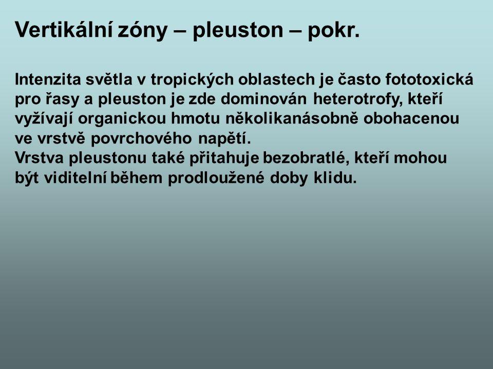 Vertikální zóny – pleuston – pokr.