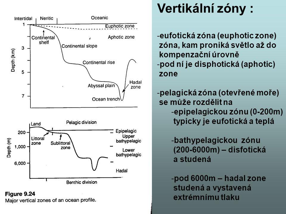 Vertikální zóny : -eufotická zóna (euphotic zone) zóna, kam proniká světlo až do kompenzační úrovně -pod ní je disphotická (aphotic) zone -pelagická zóna (otevřené moře) se může rozdělit na -epipelagickou zónu (0-200m) typicky je eufotická a teplá -bathypelagickou zónu (200-6000m) – disfotická a studená -pod 6000m – hadal zone studená a vystavená extrémnímu tlaku