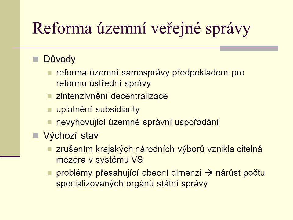 Reforma územní veřejné správy Důvody reforma územní samosprávy předpokladem pro reformu ústřední správy zintenzivnění decentralizace uplatnění subsidi