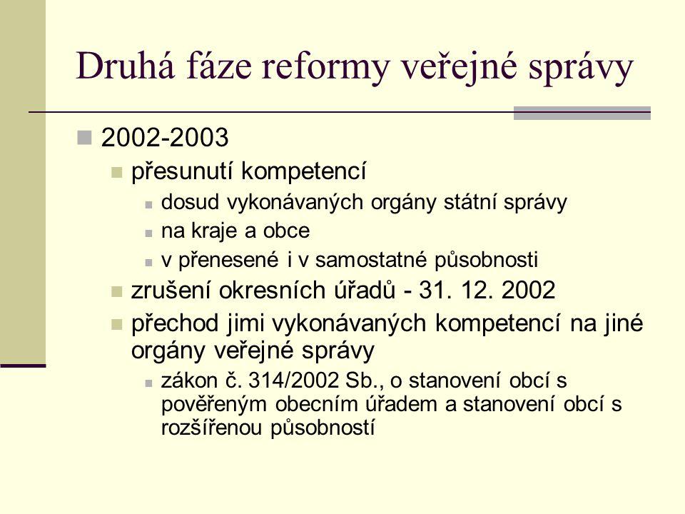 Druhá fáze reformy veřejné správy 2002-2003 přesunutí kompetencí dosud vykonávaných orgány státní správy na kraje a obce v přenesené i v samostatné pů