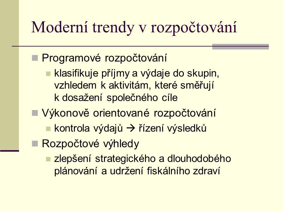 Moderní trendy v rozpočtování Programové rozpočtování klasifikuje příjmy a výdaje do skupin, vzhledem k aktivitám, které směřují k dosažení společného