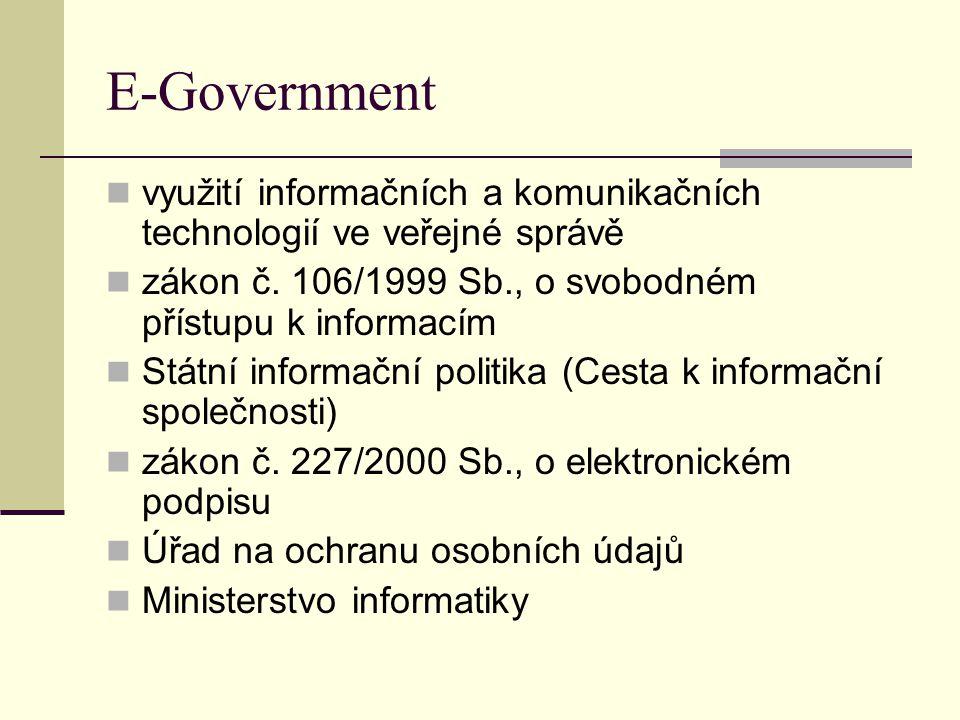 E-Government využití informačních a komunikačních technologií ve veřejné správě zákon č. 106/1999 Sb., o svobodném přístupu k informacím Státní inform