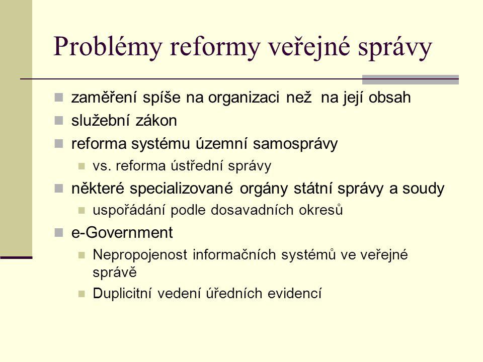 Problémy reformy veřejné správy zaměření spíše na organizaci než na její obsah služební zákon reforma systému územní samosprávy vs. reforma ústřední s