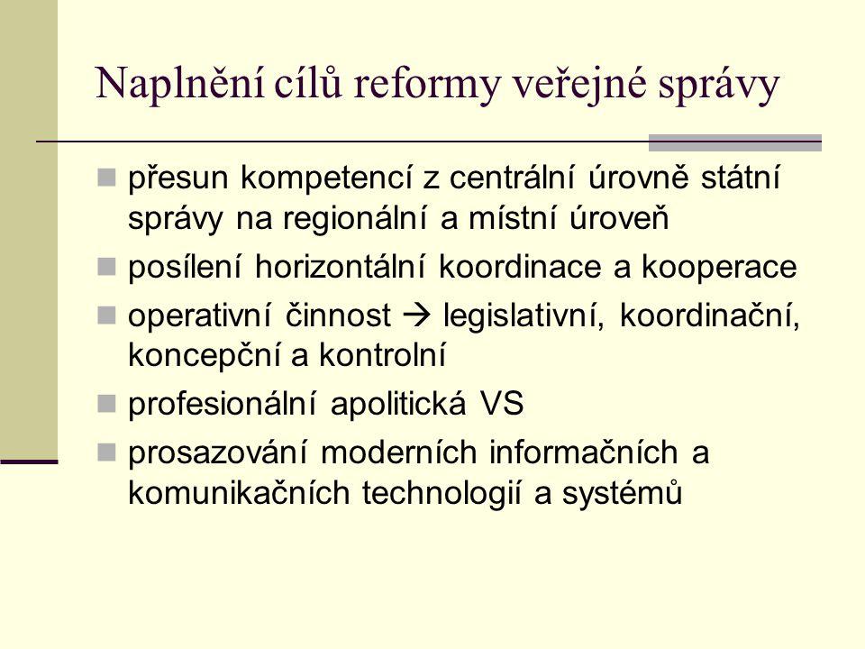 Naplnění cílů reformy veřejné správy přesun kompetencí z centrální úrovně státní správy na regionální a místní úroveň posílení horizontální koordinace