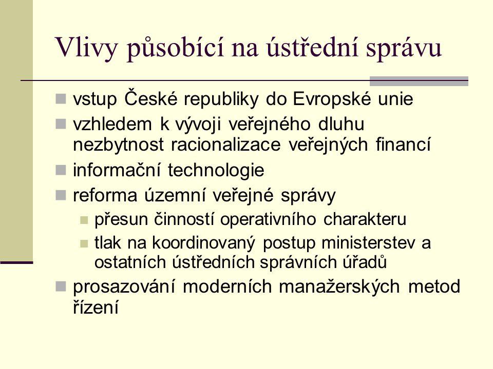 Vlivy působící na ústřední správu vstup České republiky do Evropské unie vzhledem k vývoji veřejného dluhu nezbytnost racionalizace veřejných financí