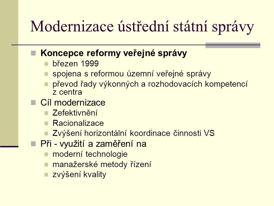Modernizace ústřední státní správy Koncepce reformy veřejné správy březen 1999 spojena s reformou územní veřejné správy převod řady výkonných a rozhod