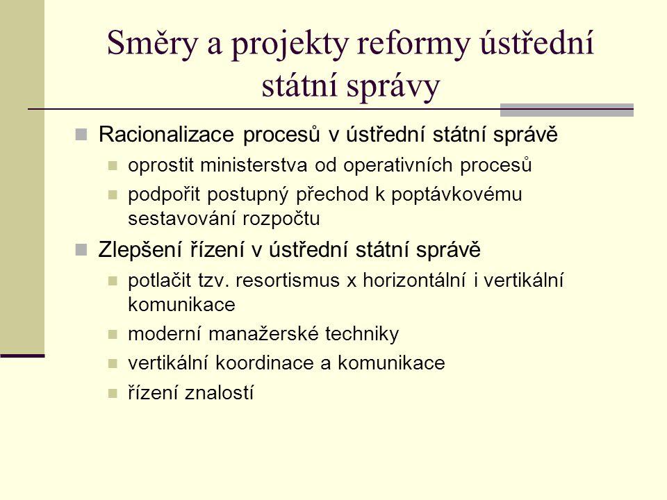 Směry a projekty reformy ústřední státní správy Racionalizace procesů v ústřední státní správě oprostit ministerstva od operativních procesů podpořit