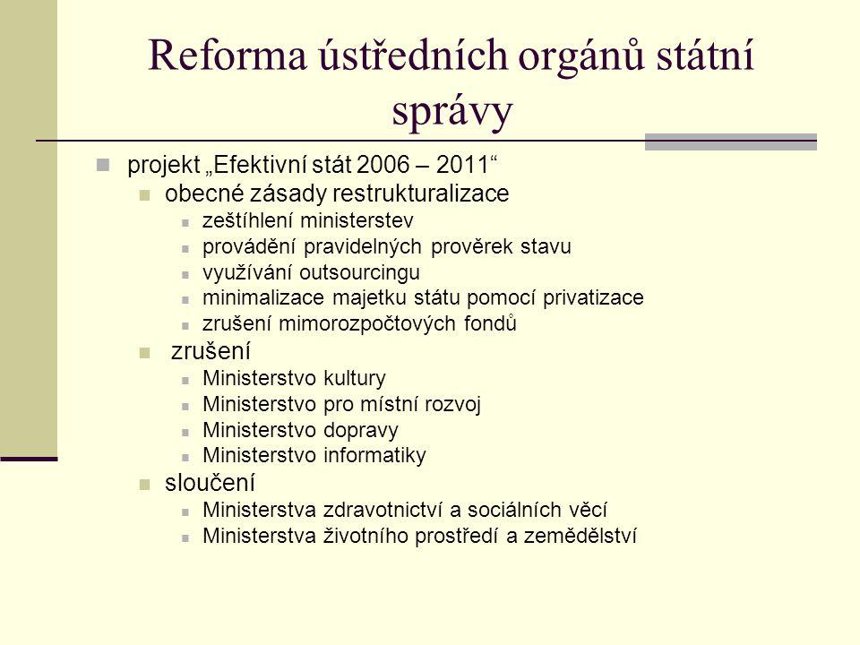 """Reforma ústředních orgánů státní správy projekt """"Efektivní stát 2006 – 2011"""" obecné zásady restrukturalizace zeštíhlení ministerstev provádění pravide"""
