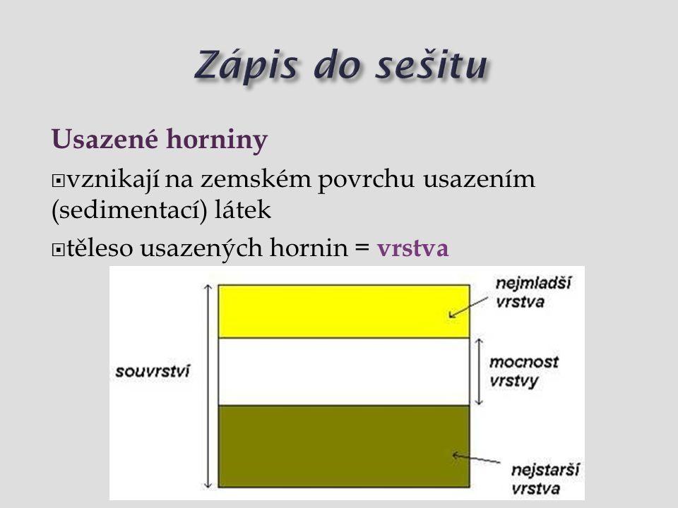 Usazené horniny  vznikají na zemském povrchu usazením (sedimentací) látek  těleso usazených hornin = vrstva