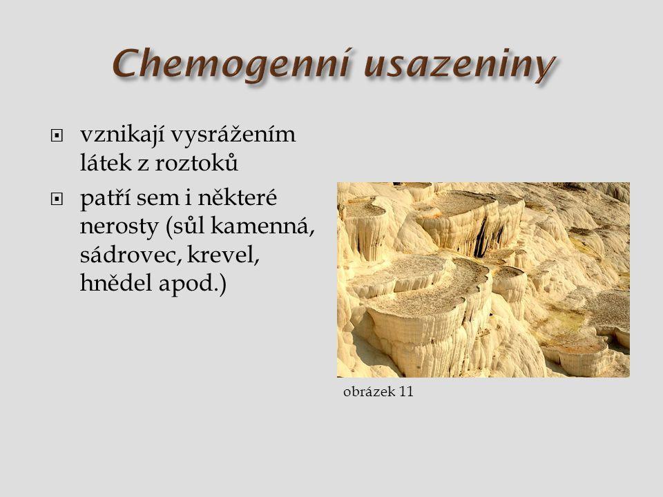  vznikají vysrážením látek z roztoků  patří sem i některé nerosty (sůl kamenná, sádrovec, krevel, hnědel apod.) obrázek 11