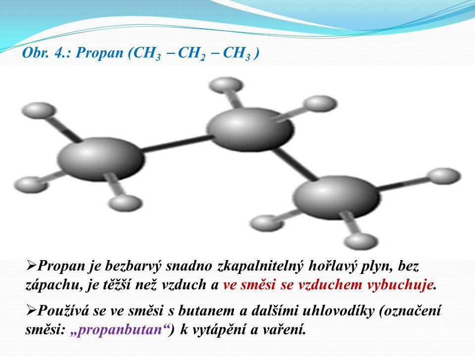 Obr. 3.: Ethan (CH 3  CH 3 )  Ethan je to bezbarvý hořlavý plyn bez zápachu jen nepatrně těžší než vzduch. Ve směsi se vzduchem, obsahující 3 až 12,