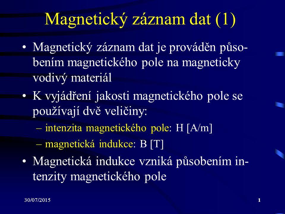30/07/201512 Magnetický záznam dat (12) Jejich magnetický tok se uzavírá přes fero- magnetické jádro hlavy a v cívce vzniká in- dukované napětí, pomocí něhož se rozlišují jednotlivé zaznamenané bity Platí: B =  S kde  značí magnetický tok [Wb] S značí plochu [m 2 ]