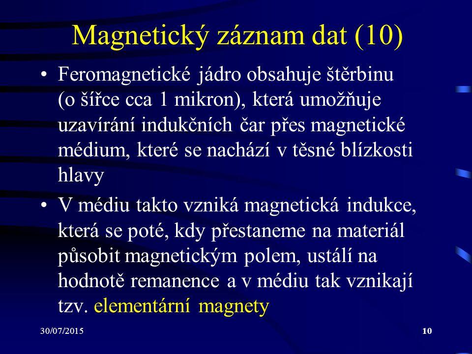 30/07/201510 Magnetický záznam dat (10) Feromagnetické jádro obsahuje štěrbinu (o šířce cca 1 mikron), která umožňuje uzavírání indukčních čar přes ma