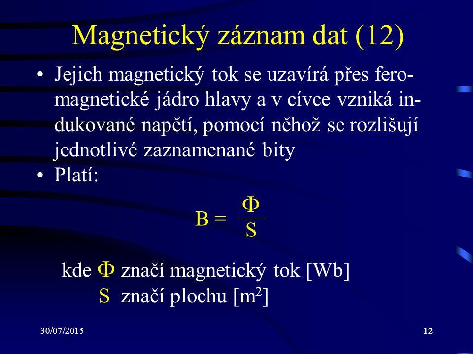 30/07/201512 Magnetický záznam dat (12) Jejich magnetický tok se uzavírá přes fero- magnetické jádro hlavy a v cívce vzniká in- dukované napětí, pomoc