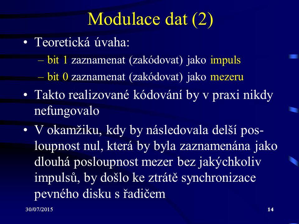 30/07/201514 Modulace dat (2) Teoretická úvaha: –bit 1 zaznamenat (zakódovat) jako impuls –bit 0 zaznamenat (zakódovat) jako mezeru Takto realizované
