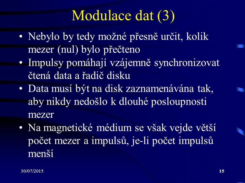 30/07/201515 Modulace dat (3) Nebylo by tedy možné přesně určit, kolik mezer (nul) bylo přečteno Impulsy pomáhají vzájemně synchronizovat čtená data a