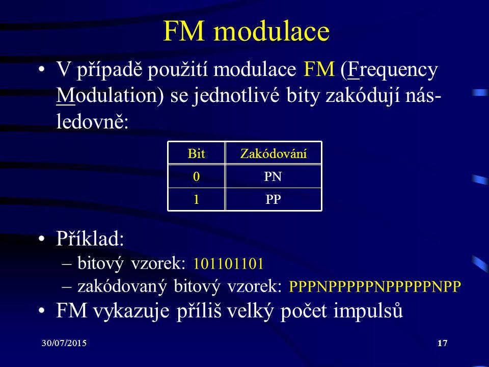 30/07/201517 FM modulace V případě použití modulace FM (Frequency Modulation) se jednotlivé bity zakódují nás- ledovně: BitZakódování 0PN 1PP Příklad: