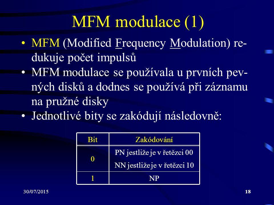 30/07/201518 MFM modulace (1) MFM (Modified Frequency Modulation) re- dukuje počet impulsů MFM modulace se používala u prvních pev- ných disků a dodne