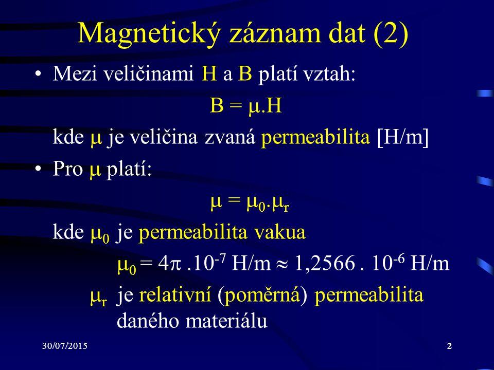 30/07/20152 Magnetický záznam dat (2) Mezi veličinami H a B platí vztah: B = .H kde  je veličina zvaná permeabilita [H/m] Pro  platí:  =  0.  r