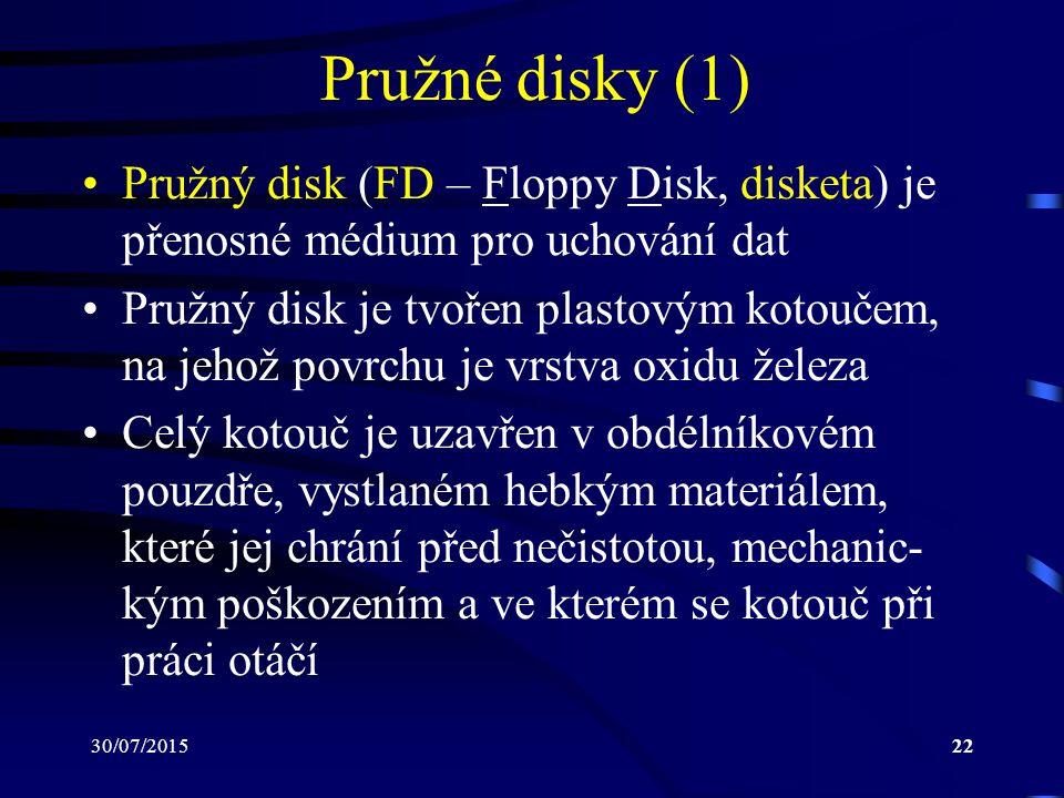30/07/201522 Pružné disky (1) Pružný disk (FD – Floppy Disk, disketa) je přenosné médium pro uchování dat Pružný disk je tvořen plastovým kotoučem, na