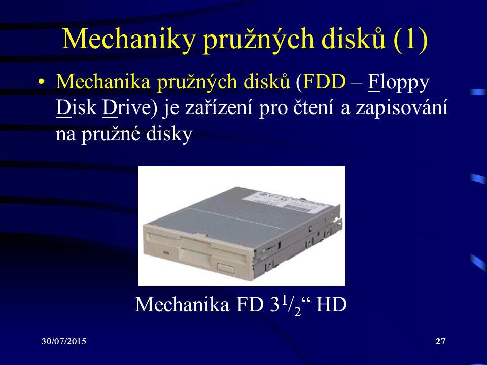 30/07/201527 Mechaniky pružných disků (1) Mechanika pružných disků (FDD – Floppy Disk Drive) je zařízení pro čtení a zapisování na pružné disky Mechan