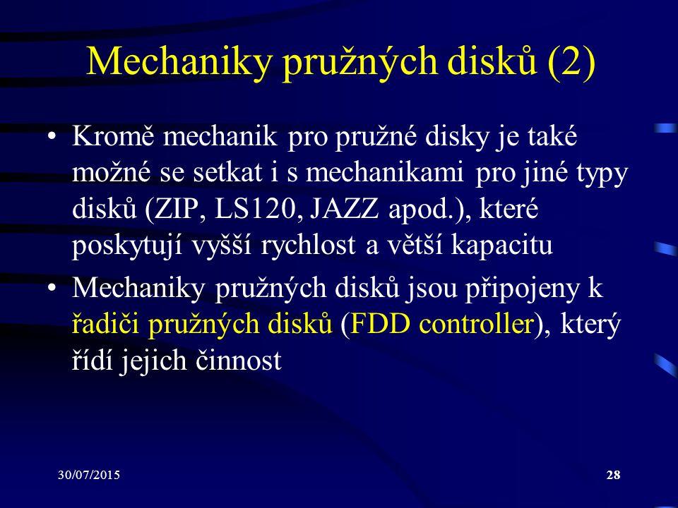 30/07/201528 Mechaniky pružných disků (2) Kromě mechanik pro pružné disky je také možné se setkat i s mechanikami pro jiné typy disků (ZIP, LS120, JAZ