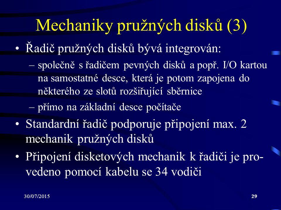 30/07/201529 Mechaniky pružných disků (3) Řadič pružných disků bývá integrován: –společně s řadičem pevných disků a popř. I/O kartou na samostatné des