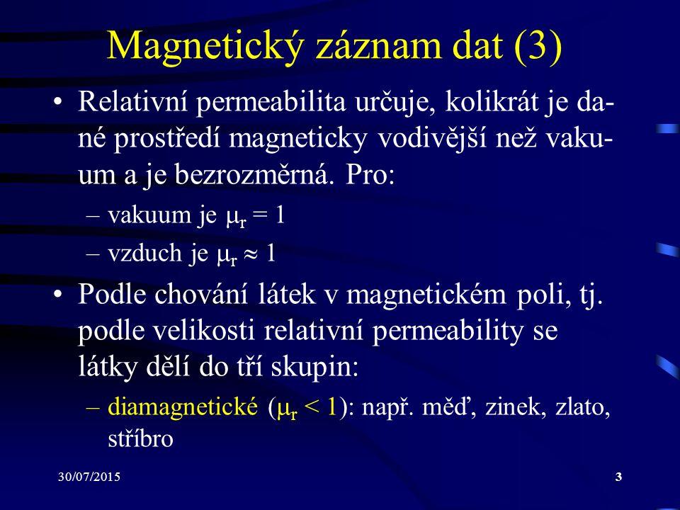 30/07/20154 Magnetický záznam dat (4) –paramagnetické (  r > 1): např.