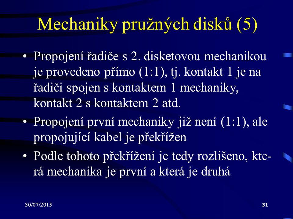 30/07/201531 Mechaniky pružných disků (5) Propojení řadiče s 2. disketovou mechanikou je provedeno přímo (1:1), tj. kontakt 1 je na řadiči spojen s ko