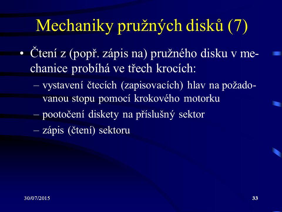 30/07/201533 Mechaniky pružných disků (7) Čtení z (popř. zápis na) pružného disku v me- chanice probíhá ve třech krocích: –vystavení čtecích (zapisova