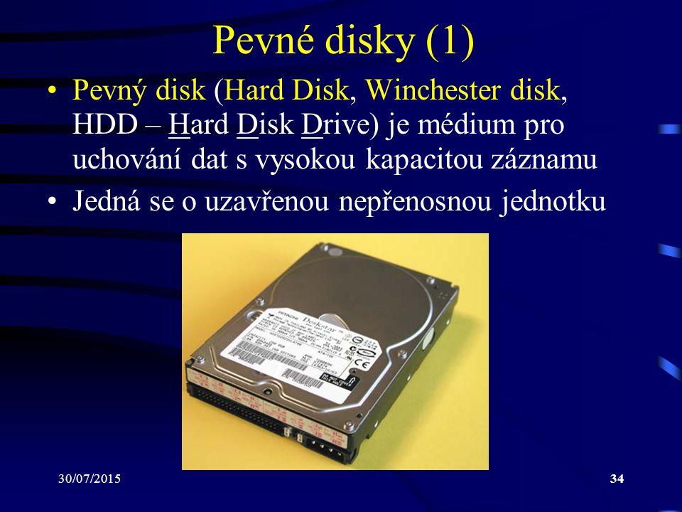 30/07/201534 Pevné disky (1) Pevný disk (Hard Disk, Winchester disk, HDD – Hard Disk Drive) je médium pro uchování dat s vysokou kapacitou záznamu Jed