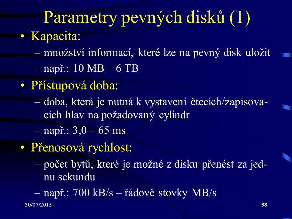 30/07/201538 Parametry pevných disků (1) Kapacita: –množství informací, které lze na pevný disk uložit –např.: 10 MB – 6 TB Přístupová doba: –doba, kt